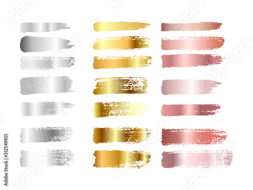 Fotografija Gold , silver and rose gold paint smear stroke stain set
