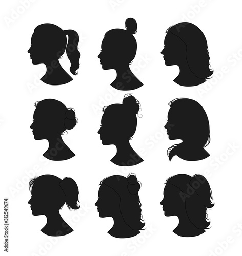 Beautiful collection of profile woman heand with different hairstyles vector Fototapete