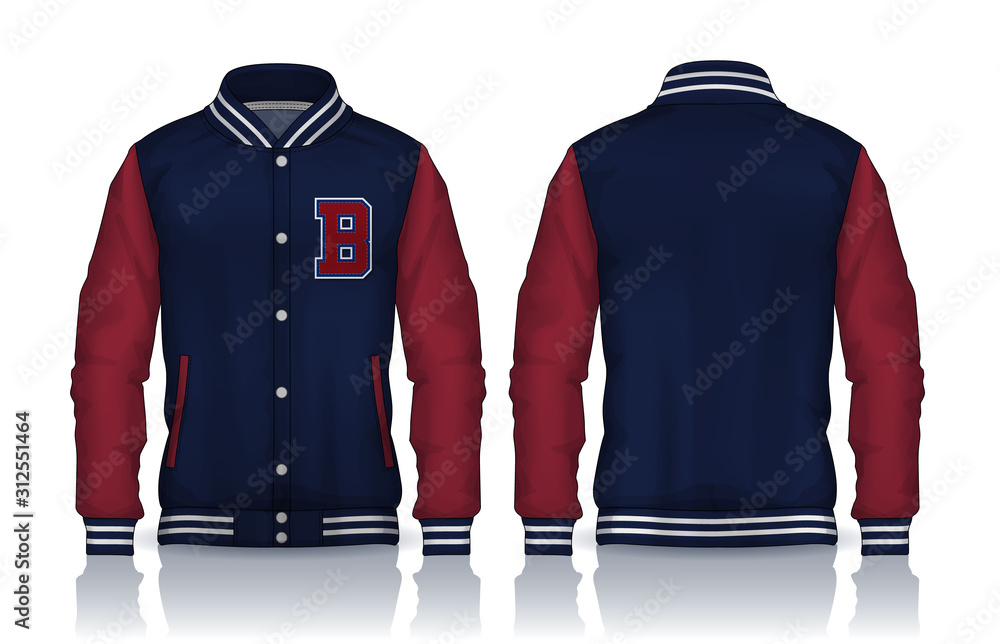 Fototapeta Varsity Jacket Design,Sportswear Track front and back view.