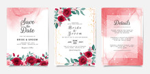Wedding Invitation Card Template Set With Flowers And Fluid Background. Burgundy And Peach Roses Botanic Illustration For Save The Date, Greeting, Poster, Cover Vector