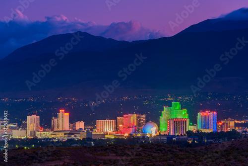 Fotografie, Obraz Skyline of Reno Nevada USA at Dusk