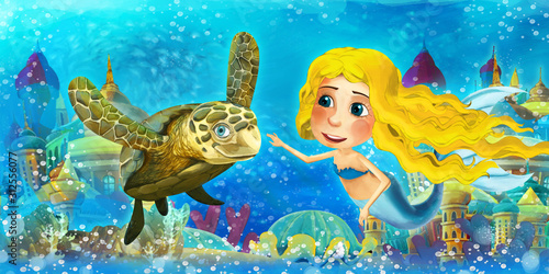 Photo Cartoon ocean and the mermaid princess in underwater kingdom swimming and having