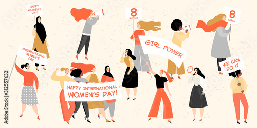 Set of vector images for International Women's Day with cute young women holding Canvas Print