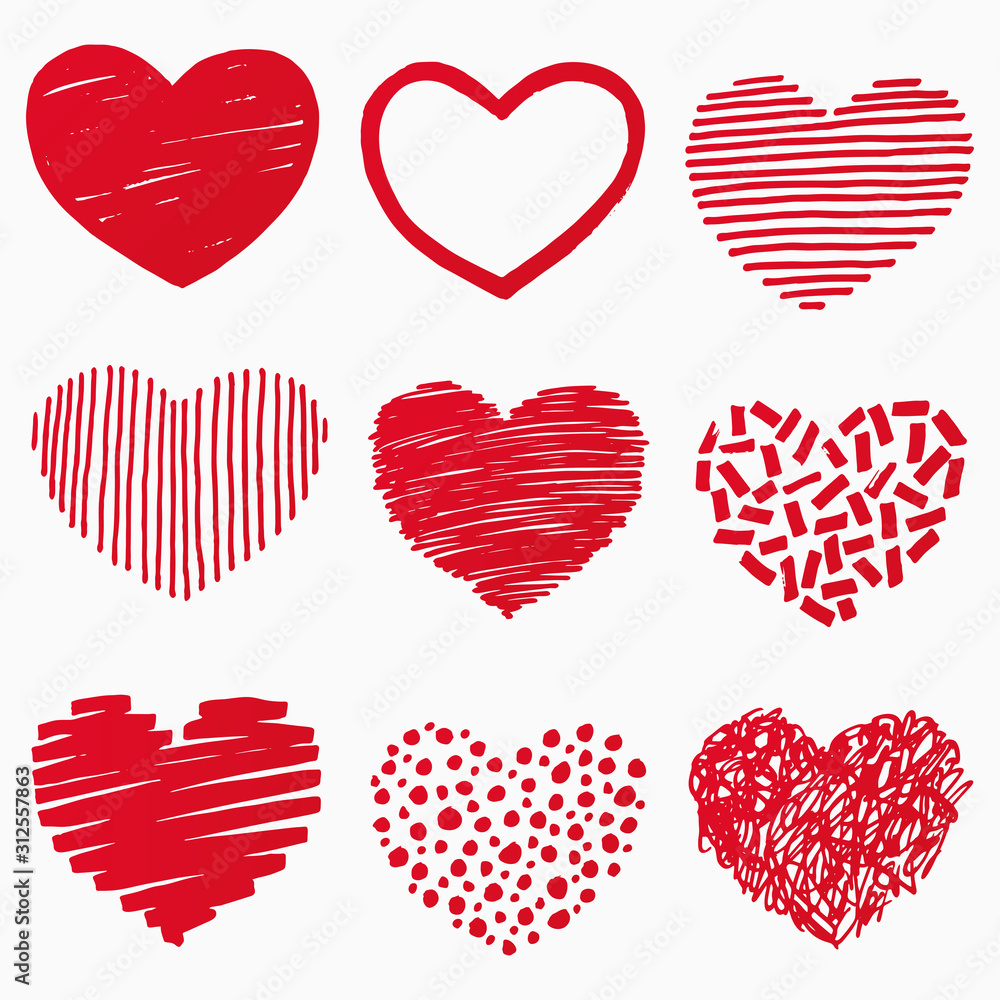 Fototapeta Red hearts in hand drawn style. Grunge heart shape set isolated on white background. Symbol of love. Doodle element for Valentines Day or wedding design. Vector illustration