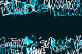 Fototapeta Młodzieżowe - Graffiti tags border isolated on transparent background. Abstract street art decoration. Graffiti hand drawing texture. Element for banner, t-shirt design, textile, wrapping paper. Vector illustration