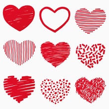 Red Hearts In Hand Drawn Style...