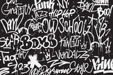 Graffiti Tags Background In Bl...