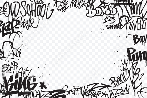 Graffiti tags border isolated on transparent background Canvas Print