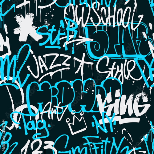 Tapety do pokoju młodzieżowego  vector-graffiti-seamless-pattern-in-blue-and-white-color-isolated-on-dark-background-abstract-graffiti-tags-and-throw-up-pieces-background-use-for-poster-t-shirt-design-textile-wrapping-paper