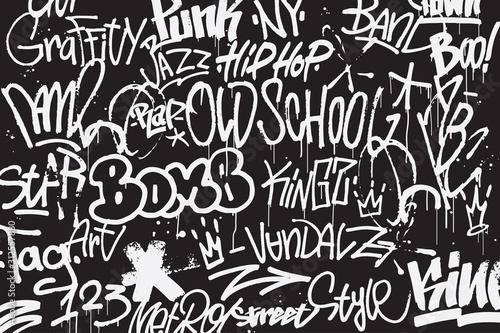 Graffiti tags background in black and white colors Canvas Print
