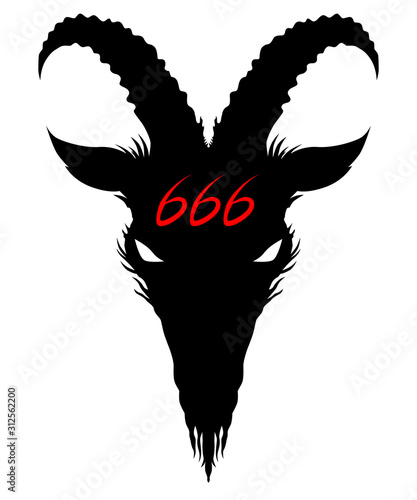Photo Baphomet, Goat headed demon with a red 666 on the forehead - head