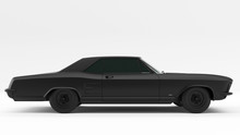 Powerful Matte Black Gangster Luxury 1960's Style Car 3d Illustration 3d Render