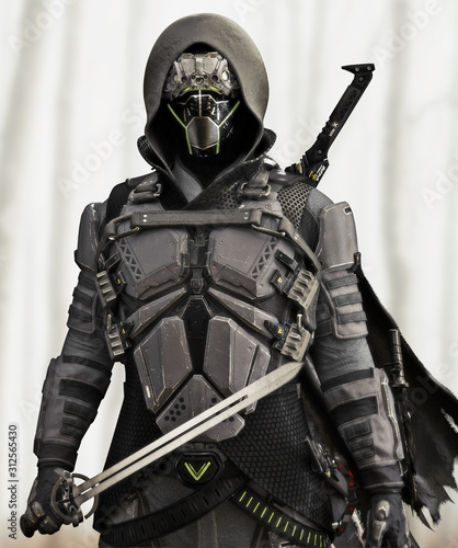Armored Futuristic hooded sci fi samurai . 3d rendering Wallpaper Mural
