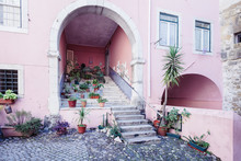 Courtyard With Pink Wall And Potted Plants