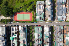 Aerial View Of Tennis Courts In Residential Areas