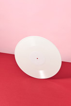 Retro Vinyl Record White On A ...