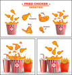 Fast food fried chicken meat. Legs, wings and basket. Popular fried chicken varieties hot wings drumsticks combo.