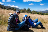 Young couple exploring nature at a beautiful paramo at the department of Cundinamarca in Colombia