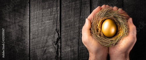 Fotografía Protecting Hands Holding Golden Nest Egg On Wooden Table - Investment Protection