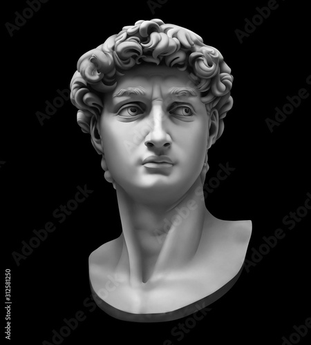 Photo 3D rendering of Michelangelo's David bust isolated on black