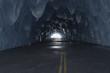 Leinwanddruck Bild - Vereister Tunnel mit Licht am Ende des Tunnels. 3D Rendering