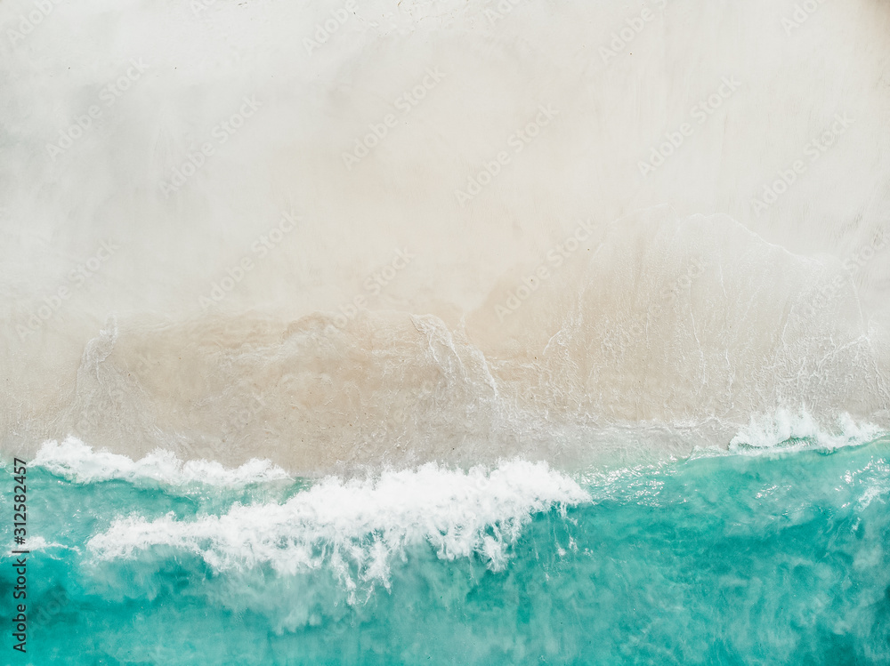 Fototapeta beach with turquoise sea water and palm trees, aerial drone shot, Top view of beautiful white sand