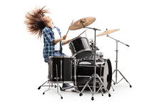Female Drummer Throwing Hair Back