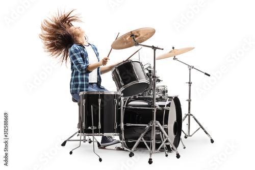Canvas Print Female drummer throwing hair back