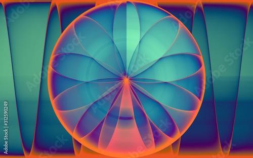 Obraz rendu numérique de la naissance d'une rose géométrique, abstraite - fototapety do salonu