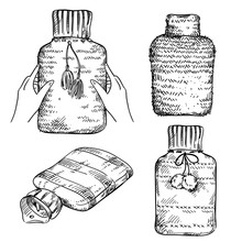 Set Of Rubber Hot Water Bottles  In  Knitted Covers, Vector Sketch