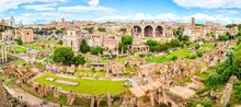 Roman Forum, Latin Forum Romanum, Most Important Cenre In Ancient Rome, Italy. Aerial Panoramic View From Palatine Hill