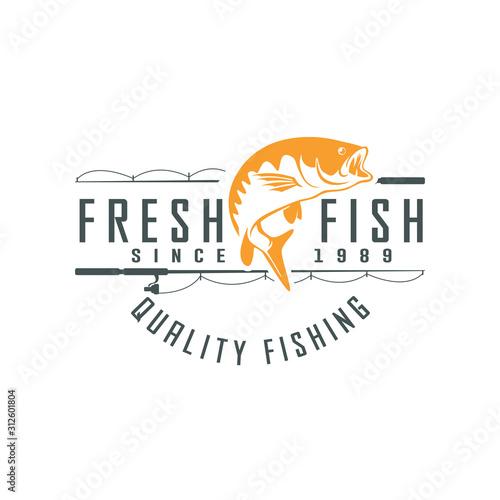 Fishing vector design logo template Canvas Print