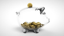 3d Render Of Gold Coin Falling Into A Glass Piggy Bank. A See Through Piggy Bank With Money Coins On White Background. Empty Transparent Piggy Bank, Concept Of Saving Money. Pig Money Box Icon.