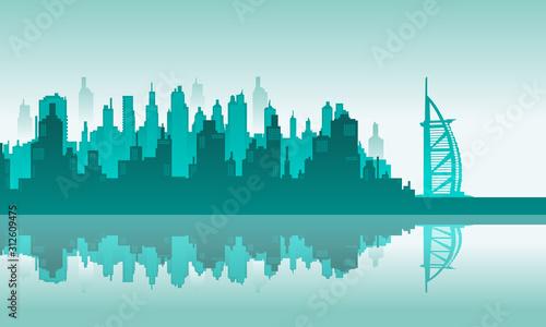 Morning City Vector Backround of Burj Al Arab Dubai Canvas Print