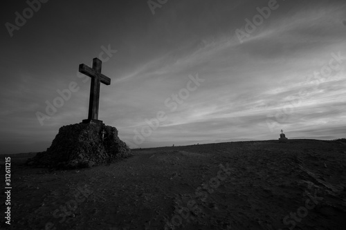 cross on top of mountain Canvas Print