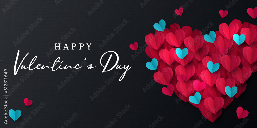 Fototapeta Happy Valentine's Day banner. Holiday background design with big heart made of pink, red and blue Origami Hearts on black fabric background. Horizontal poster, flyer, greeting card, header for website