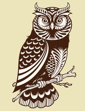 Abstract Owl With Geometric Patterns Resting On Branch