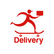 Delivery company running man with package Logo design vector