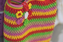 Fashion Colorful Crochet Bag Handmade Texture Background