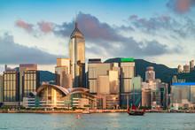 Sunset Over Victoria Harbor With Hong Kong Boat, Hong Kong