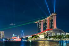 Marina Bay, Singapore, 21 April 2017, Marina Bay Sands With Laser Show At Night