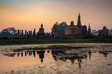 Sukhothai Historical Park With Sunrise
