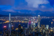 Victoria harbor view from Victoria peak viewpoint with twilight sky