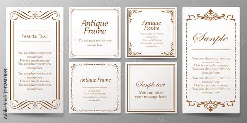 Obraz ウエディングカードデザイン、ビンテージな装飾、アンティークな線、優美な模様 - fototapety do salonu