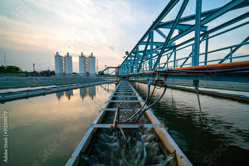 Water treatment plant with sunrise Canvas Print