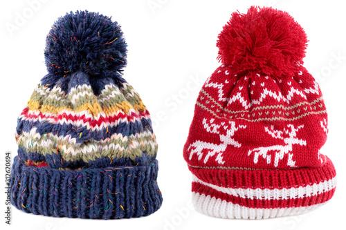 Obraz Blue red reindeer winter bobble ski hat - fototapety do salonu
