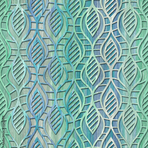 Fototapeta drewno  wood-seamless-texture-with-waves-pattern-turquoise-color-3d-illustration