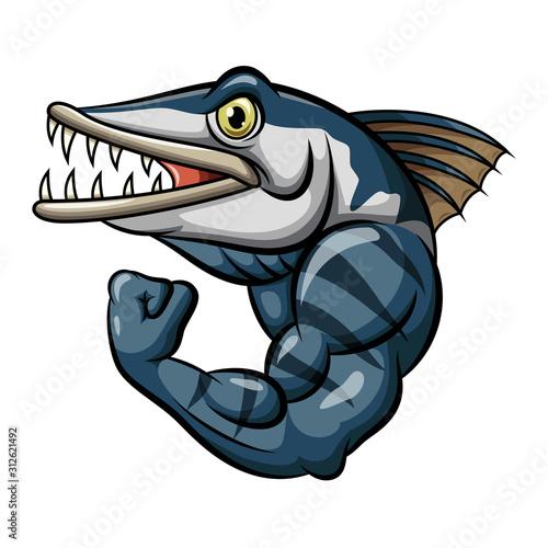 Cartoon strong angry barracuda fish mascot #312621492