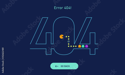 Fotografie, Obraz Error 404, Page not found with digital pacman game concept for website