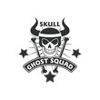 skull mascot logo badge design vector illustration